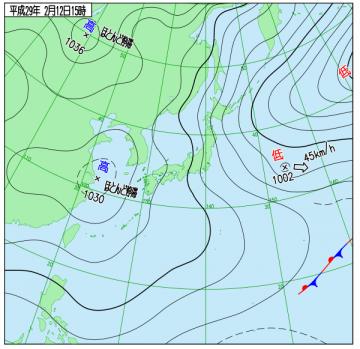 2月12日(日)15時の実況天気図