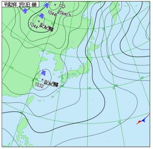 2月13日(月)6時の実況天気図
