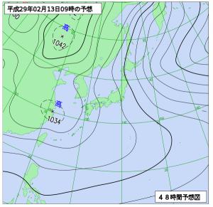 2月13日(月)9時の予想天気図