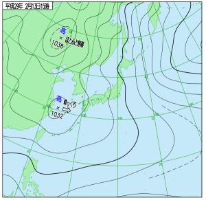 2月13日(月)15時の実況天気図