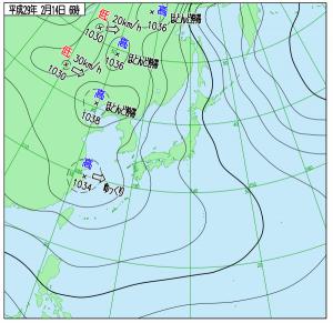 2月14日(火)6時の実況天気図