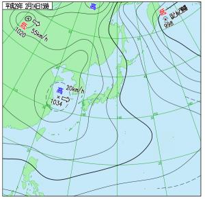 2月14日(火)15時の実況天気図