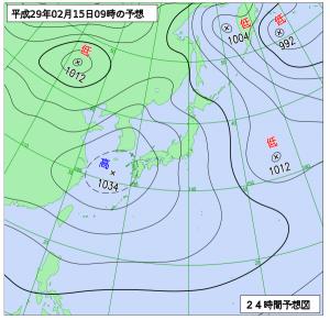 2月16日(水)9時の予想天気図
