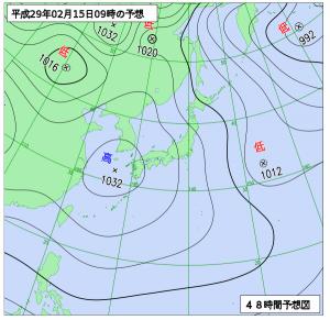 2月15日(水)9時の予想天気図