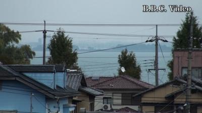 窓から見た琵琶湖(11月14日16時頃)