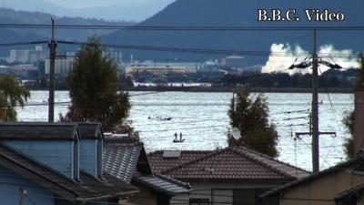 窓から見た琵琶湖(11月23日8時頃)