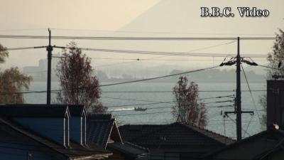 窓から見た琵琶湖(12月18日8時頃)