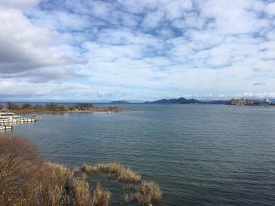 琵琶湖大橋西詰めから眺めた北湖(12月24日11時20分頃)
