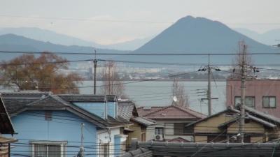窓から見た琵琶湖(12月25日8時頃)