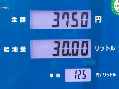 レギュラーガソリン125円/L