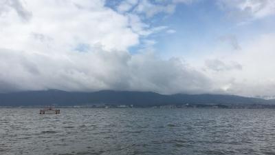 琵琶湖南湖志那湖岸から眺めた雄琴〜カネカ沖(1月9日12時頃)