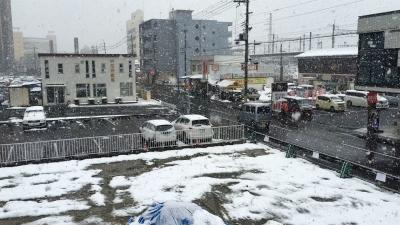 夕方になってまた雪が降り始めたJR堅田駅付近(1月14日16時頃)