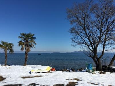 残雪の真野浜(1月26日12時頃)
