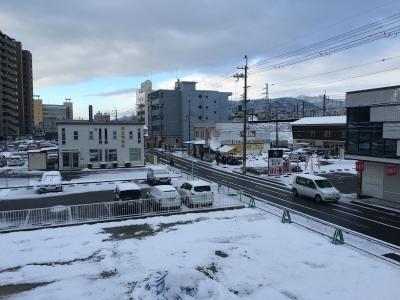 今朝のJR堅田駅付近(1月25日8時頃)