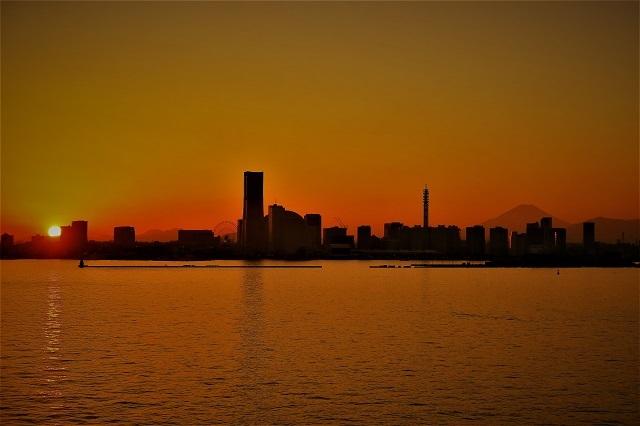 2017大黒大橋から見た日没の風景(1)