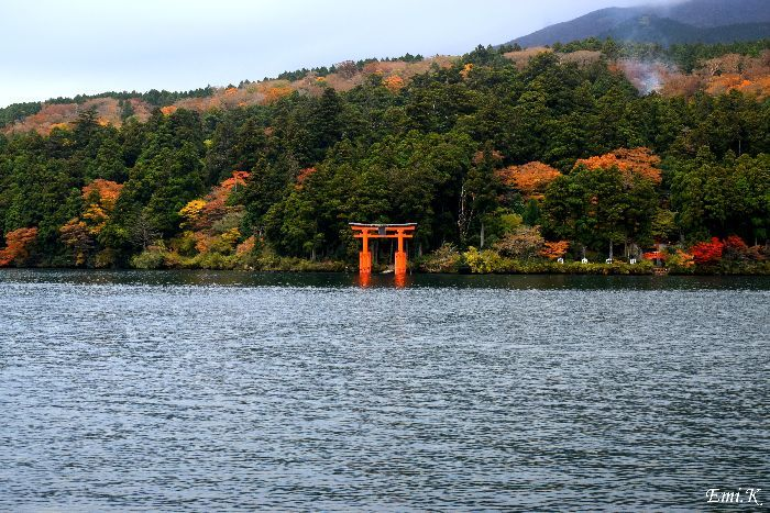 157-New-Emi-箱根神社鳥居-紅葉