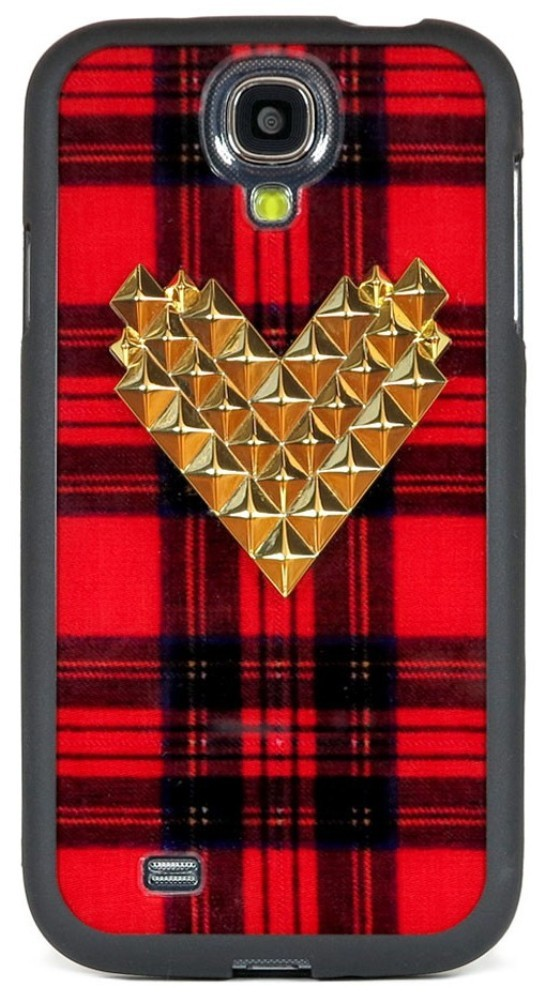 Tartan Gold Studded Heart Samsung Galaxy S4 Case (2)