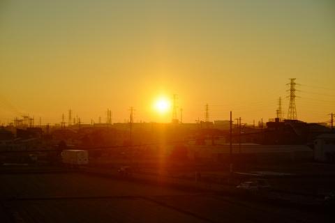 02車窓から日の出