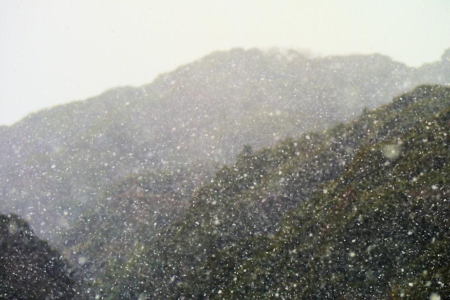 晴れの日の雪