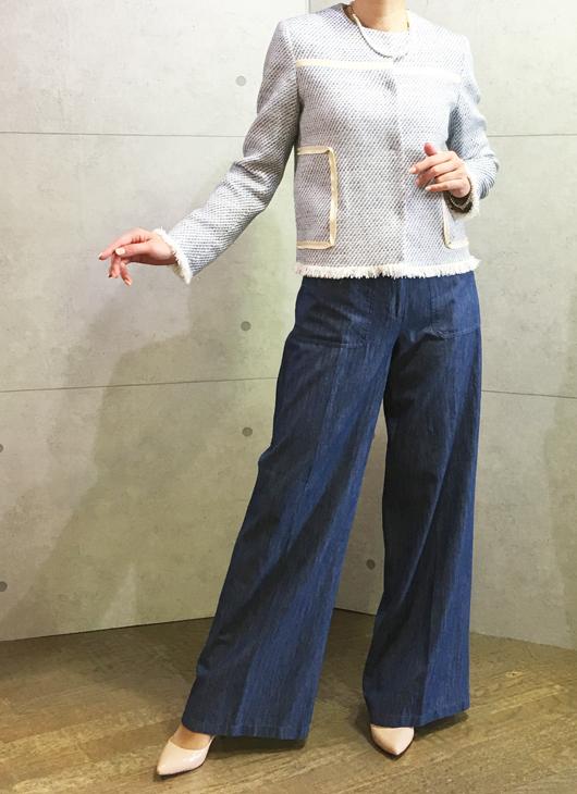 ヴィンスのワイドパンツとイリゼのフリンジ付きジャケット