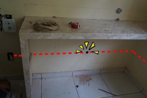 白テーブルの点線