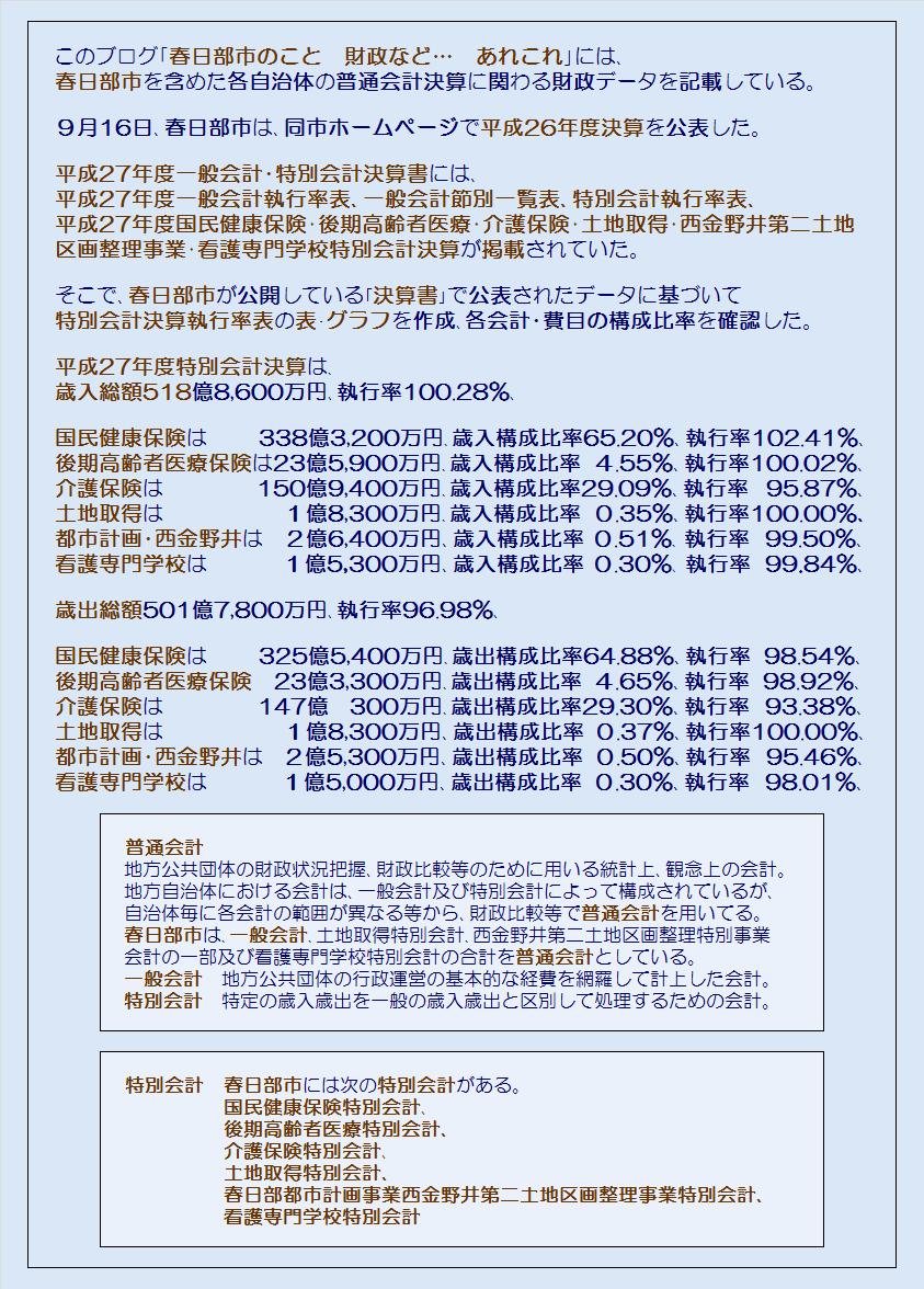 春日部市平成27年度特別会計執行率表・コメント