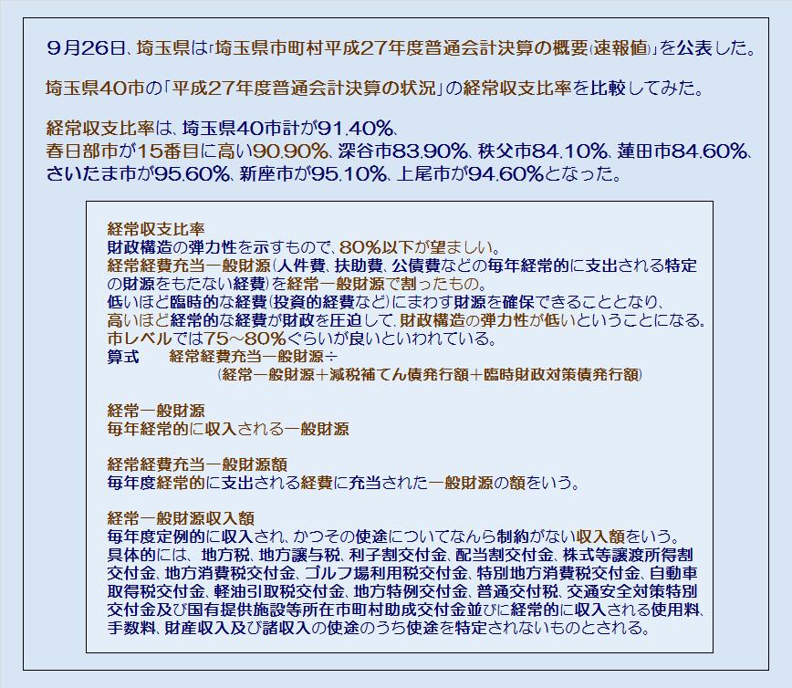 埼玉県40市平成27年度普通会計決算の状況・コメント