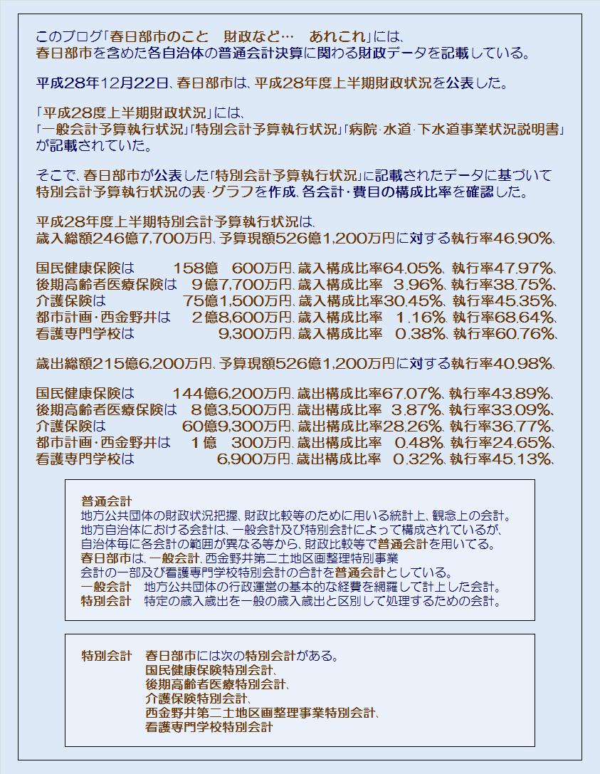 春日部市平成28年度上半期特別会計予算執行状況・コメント