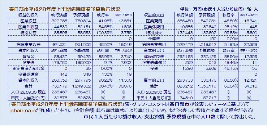 春日部市平成28年度上半期病院事業予算執行状況・表