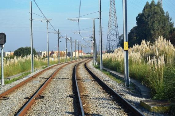 ③近郊の電車線路とススキ