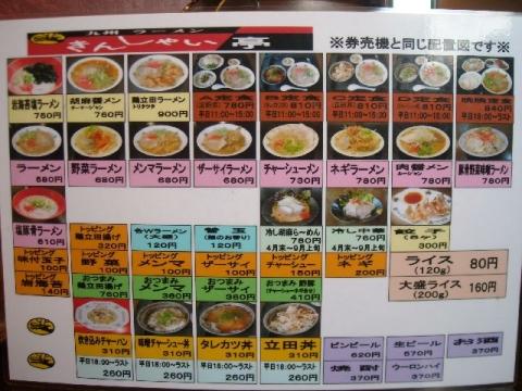 きんしゃい亭 県央店・H28・1 メニュー