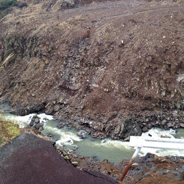 ③白河に流れ込んだ土砂