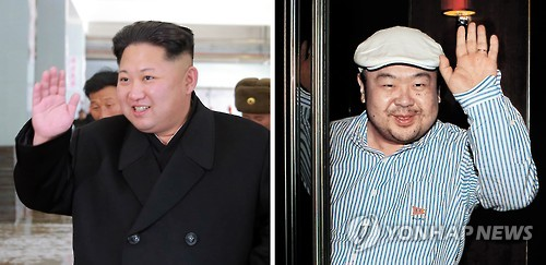 金正恩朝鮮労働党委員長(左)と金正男氏=(聯合ニュース)