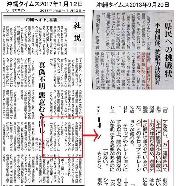 「万一逮捕されても生活に影響が少ない65歳以上のお年寄りを集め、過激デモ活動に従事させている」という「ニュース女子」のテロップとナレーションの情報源は、実は「沖縄タイムス」の記事だった!!