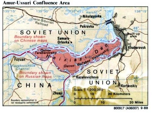 プーチン大統領と胡錦濤国家主席両首脳による政治決着で、2004年10月14日中露国境協定が結ばれ、アムール・ウスリー合流点部分では、係争地を二等分するように分割線を引き、タラバーロフ島の全域と大ウスリー島の西