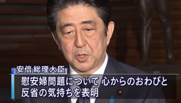 平成27年(2015年)12月、安倍晋三首相は、朴槿恵大統領に対し、慰安婦について「日本国の首相として心からおわびと反省の気持ちを表明する」と伝えた。