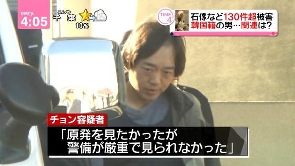 福島県警白河署は10日、同県泉崎村の神社でキツネの石像などを壊したとして、器物損壊と建造物侵入の疑いで、住所不定、韓国籍の無職チョンスンホ容疑者(35)を逮捕した。
