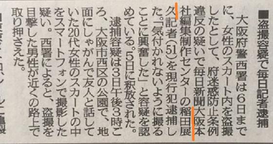 性犯罪で再逮捕!毎日新聞記者の稲田展久・9年前に痴漢→現場復帰→スカートの中をスマホで取材