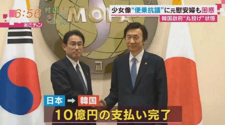 日韓合意を巡っては、すでに日本政府が韓国側へ10億円の支払いを完了