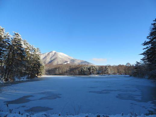 全面結氷 飯綱湖