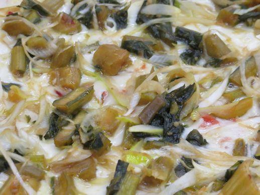 野沢菜の味噌漬けピザ