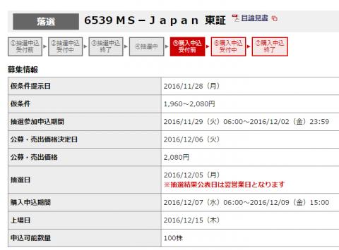 MS-JapanIPO抽選結果