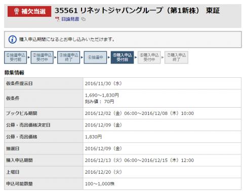 リネットジャパングループ東海東京証券結果