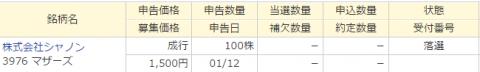 マネックス証券IPO落選