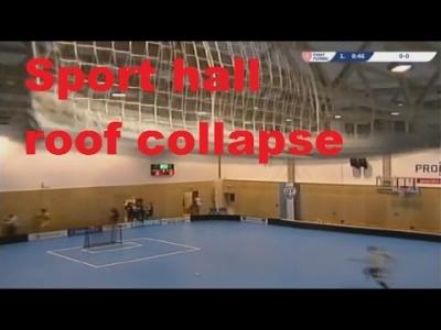 【危機一髪!】チェコのフロアボールの試合中に天井が!