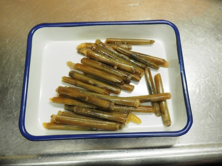 マテ貝の高菜炒め01
