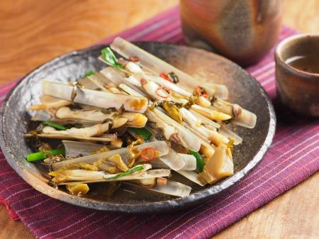 マテ貝の高菜炒め10