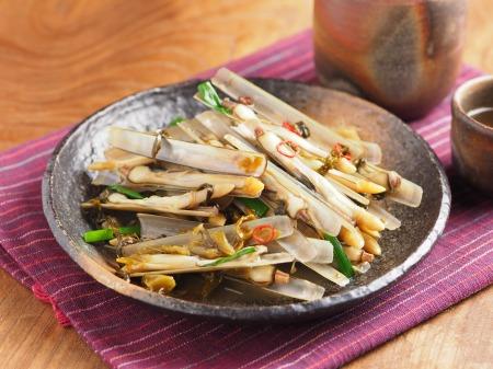 マテ貝の高菜炒め09