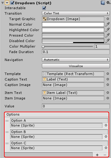 Unity】【C#】uGUI ドロップダウンの要素をコードで設定と取得、外観の