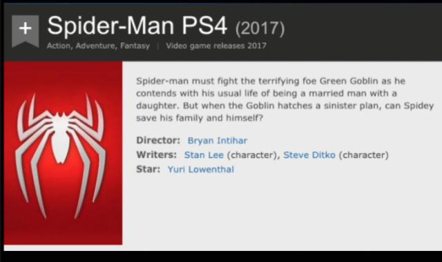 スパイダーマンのPS4専用ゲームのIMDB漏洩の詳細は?